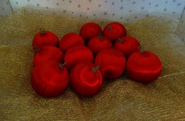 Vintage Satin Styrofoam Ball Christmas Ornaments Red Lot 12