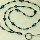 Beaded ID Badge Lanyard Necklace Tag Holder Black Turquoise Beads New