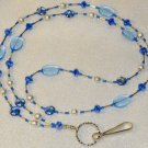 Beaded ID Badge Lanyard Necklace Tag Holder Blue Crystal Beads New