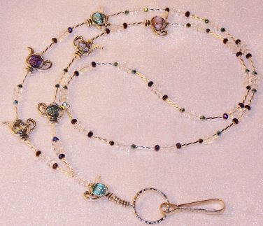 Teapot Beaded ID Badge Lanyard Necklace Tag Holder Silver Crystal Beads Newy
