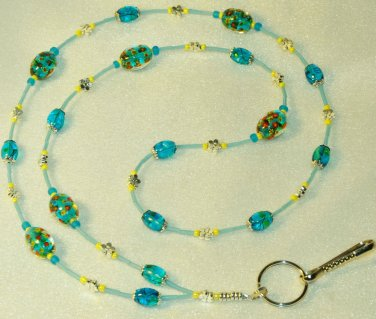Beaded ID Badge Lanyard Necklace Tag Holder Turquoise  Beads New