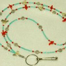 Beaded ID Badge Lanyard Necklace Tag Holder Birds Turquoise Coral Beads New