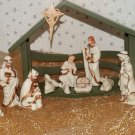 Christmas Nativity Set White Porcelain Figures Crown Wooden Stable Barn Enesco