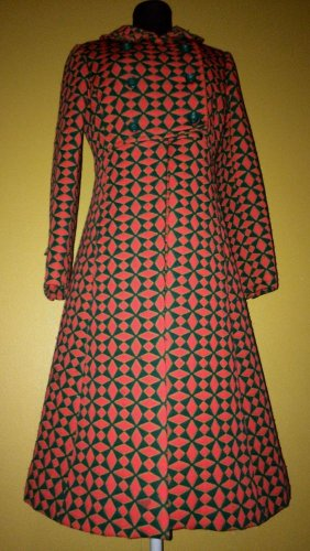 Vtg 50s 60s Red Green Mod Scooter Party Dress Jacket Suit Set