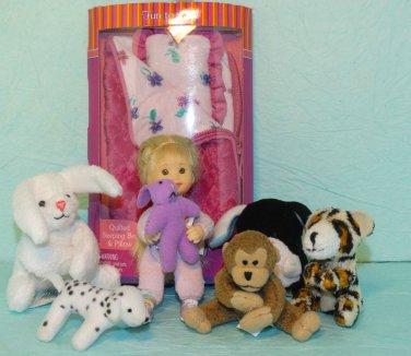 Only Hearts Lil Kids Doll Sleeping Bag Melody Dog Teddy Bear Animals lot