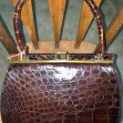 Vintage Bellestone Kelly Black Croco Alligator Leather Purse