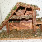 Vintage Nativity Christmas Wooden Wood Manger Stable Barn Creche No Figures