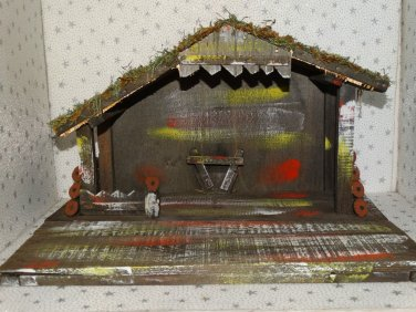 Vintage Christmas Nativity Wooden Wood Manger Stable Barn Creche Only