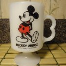 Walt Disney Mickey Mouse White Glass Coffee Mug Tea Cocoa Cup Made USA
