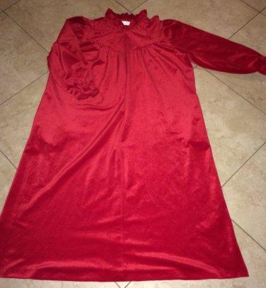 Velour Zip Front Full Length Robe Hostess Dress Red Size XL