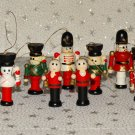 Vintage Wood Wooden Toy Soldiers Christmas Tree Ornaments Lot 9