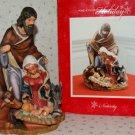 "Christmas Nativity Statue Set Mary Joseph Baby Jesus Animals 10""x7"" Porcelain"