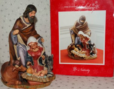 "Christmas Nativity Statue Set Mary Joseph Baby Jesus Animals 10""x7"" Porcelain"