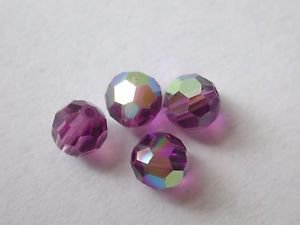 50 GENUINE SWAROVSKI 5000 AMETHYST AB 5MM CRYSTAL ROUND FACETED BEADS ~ s20