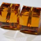10 GENUINE SWAROVSKI 5601 TOPAZ 6MM CRYSTAL CUBES ~c27