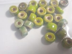 24 GREEN 3mm to 5mm Long X 7.5mm tp 8mm Round CERAMIC  BEADS ~ F311