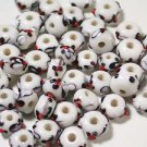 44 WHITE BLACK & RED LAMP WORK  GLASS  BEADS   4.5mmX 8mm   LOT ~A5