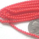 2 STRANDS RED 3.8mm  ROUND GLASS  BEADS ~Z28