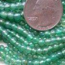2 STRANDS GREEN ONYX 4mm ROUND SEMI PRECIOUS BEADS ~Z37