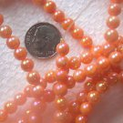 2 STRANDS ORANGE MOTHER OF PEARL COATED 6mm  GLASS  BEADS ~Z13