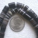 ONE STRAND BLACK BANDED ONYX CYLINDER 10to13mmX8 to9mm SEMI PRECIOUS BEADS ~Z40