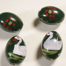4 GREEN CERAMIC  BEADS WITH DUCKS   15.5mmX 10.5mm   LOT ~A25