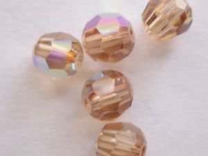 50 GENUINE SWAROVSKI 5000 LT TOPAZ  AB 4MM CRYSTAL ROUND FACETED BEADS ~ s9