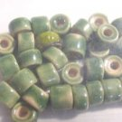 35 GREEN 4mmX8mm &6mmX8mm CERAMIC  BEADS ~ F306