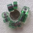 60 GREEN~BLACK ~ CLEAR CANE GLASS 4mm to 9mm  GLASS  BEADS ~Z8