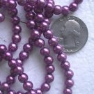 THREE STRANDS  FUSCHIA FAUX PEARL COATED 6mm  GLASS  BEADS ~Z67