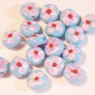 17 BLUE, PINK,WHITE & RED LAMP WORK 3 mmX7 mm GLASS  BEADS LOT ~A2