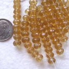 30 AMBER 4mmX6mm FACETED ROUNDELLE  GLASS  BEADS ~Z79B