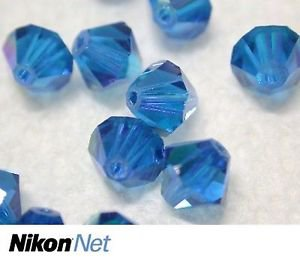 360 GENUINE SWAROVSKI 5301 CAPRI BLUE 6MM CRYSTAL BICONE BEADS