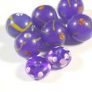 8 COLBOLT WITH COLORED ACCENT  GLASS  BEADS 4mmX9mm & 11mm ROUND   LOT ~A7