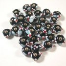 31 BLACK, BLUE, WHITE & RED GLASS  BEADS   4.5mmX7.5 mm to 6mmX9mm  LOT ~A10