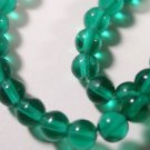 100 TEAL CZECH ROUND GLASS  BEADS   6mm   LOT ~A68