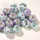 15 MULTI COLORED LAMP WORK BUMPY  GLASS  BEADS  8 mmX 10.8mm   LOT ~A6