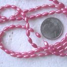FOUR STRANDS PINK  FAUX PEARL COATED 7mmX4mm  GLASS  BEADS ~Z68