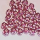 33 GLASS AMETHYST & WHITE LAMP WORK BUMP BEADS 6.5mmX8.5 mm    LOT ~A1