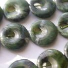 ~ DARK GREEN JADE WITH BLACK 15 mm ROUND  SEMI PRECIOUS STONE BEADS ~ sp293a