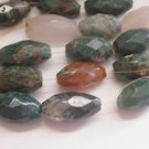 ~ 3 MOSS AGATE  FACETED MIXED 23-25mmX14mm  FOCAL  SEMI PRECIOUS BEADS ~ spf27