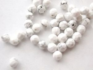 ~ HOWLITE 4 mm  FACETED ROUND  SEMI PRECIOUS STONE BEADS ~ sp262