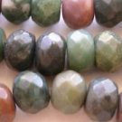 ~ FANCY JASPER 10mmX11mm FACETED  ROUNDELLE  SEMI PRECIOUS  BEADS ~ sp429