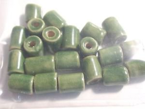 21 SHADES OF GREEN CERAMIC BEADS ~ F299