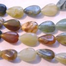 ~  FLOWER JADE 15mmX10mm TEAR DROP SHAPED  SEMI PRECIOUS  BEADS ~ sp415