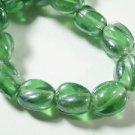 135 GREEN TWIST GLASS  BEADS  9 mmX7mm   LOT ~A84