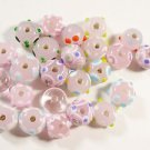24 PINKS WITH COLORED ACCENTS GLASS  BEADS  LOT ~A18