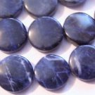 ~  SODALITE 16mm FLAT ROUND  SEMI PRECIOUS  BEADS ~ sp427