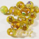 15 YELLOW AND GOLDEN TONE GLASS LAMPWORK  BEADS     LOT ~A30