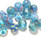 15 BLUE GLASS LAMPWORK BEADS    LOT ~A26